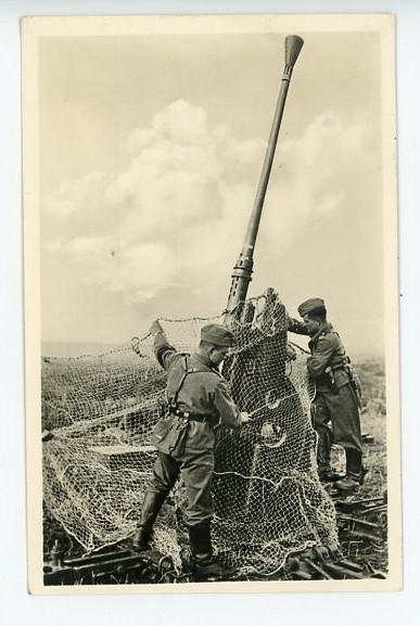 Original WWII Era German Military Themed Postcard, 3.7cm FLAK