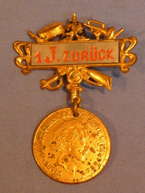 Original Post-WWI German Veterans Reunion Badge, 1 J. Zur�ck