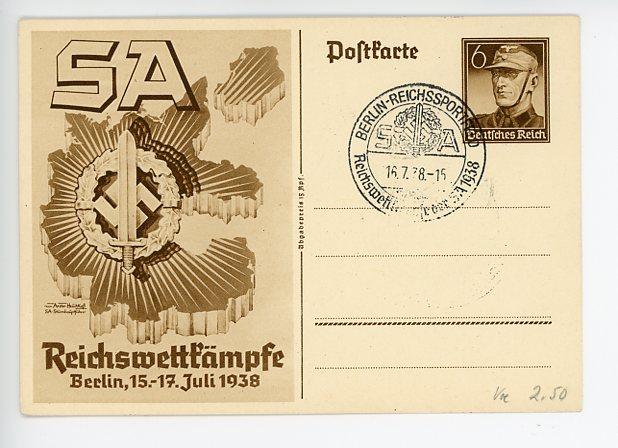 Original 1938 German SA Sports Badge Commemorative Postcard