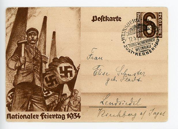 Original 1934 German Commemorative Postcard, NATIONAL HOLIDAY