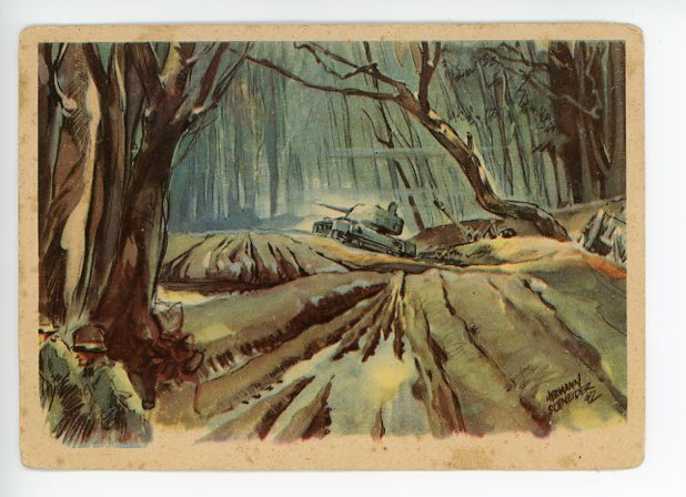 Original WWII German Kriegsberichter Postcard, From the Forrest of Kolodesy