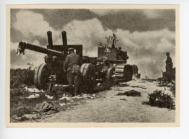 Original Pre-WWII German Feldpost Postcard, Russian Artillery Gun