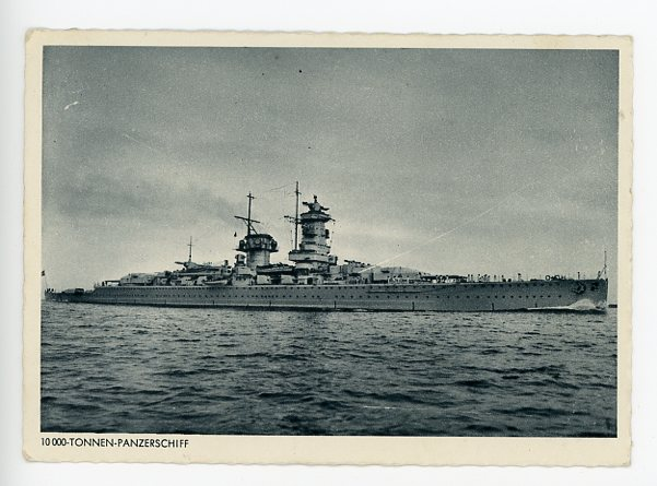Original WWII Era German Kriegsmarine (Navy) Themed Postcard, ARMORED SHIP